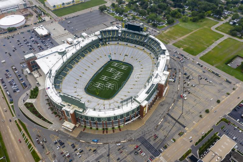 Historic Lambeau Field, Home of the Green Bay Pakers in Green Way, Wisconsin. June 25, 2019 - Green Bay, Wisconsin, USA: Historic Lambeau Field, home of the stock image