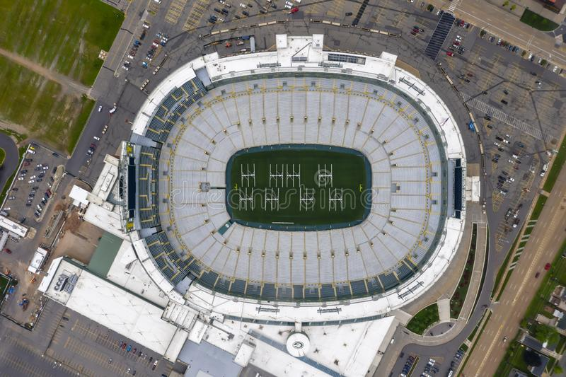 Historic Lambeau Field, Home of the Green Bay Pakers in Green Way, Wisconsin. June 25, 2019 - Green Bay, Wisconsin, USA: Historic Lambeau Field, home of the stock photography
