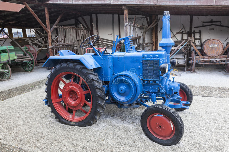 Historic Lanz Bulldog Tractor. FRANKFURT, GERMANY - JULY 23, 2016: Historic Lanz Bulldog tractror from ca 1949. The Bulldog tractors were manufactured by stock images