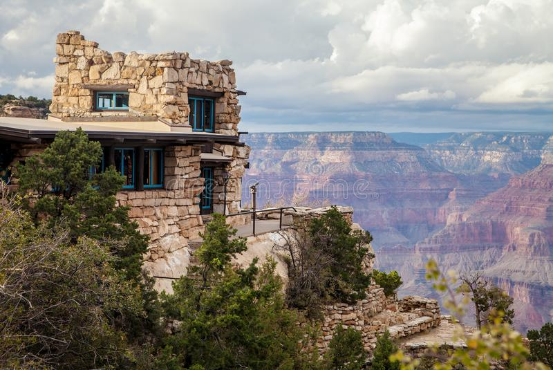 Lookout Studio at the Grand Canyon. The historic Lookout Studio, designed by architect Mary Coulter in 1914, is a rustic structure built on a precipice on the royalty free stock photos