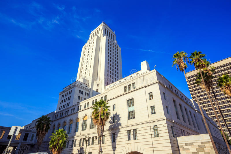 Historic Los Angeles City Hall with blue sky stock photography