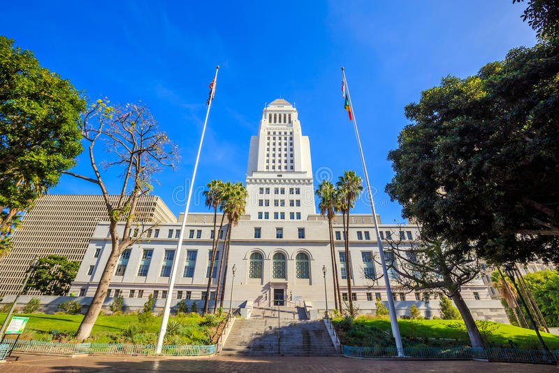 Historic Los Angeles City Hall with blue sky stock images