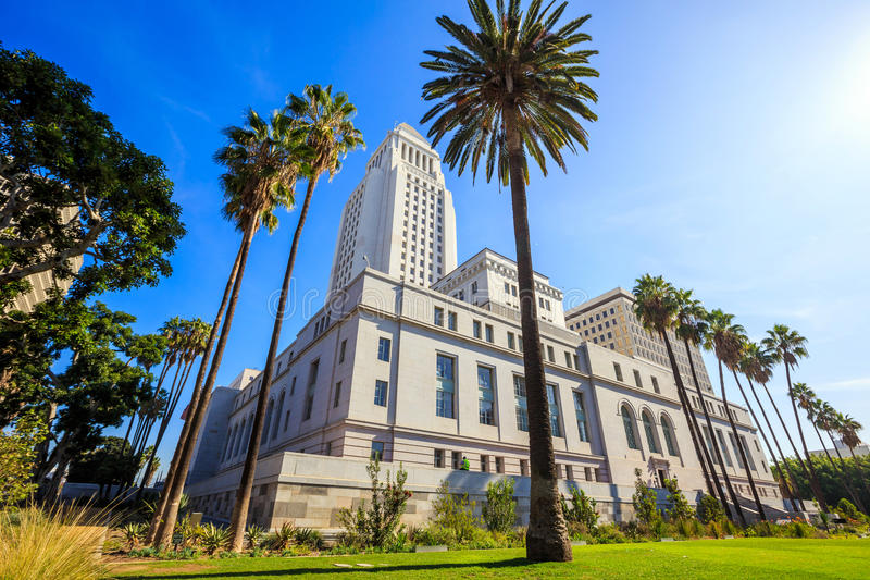 Historic Los Angeles City Hall with blue sky royalty free stock images