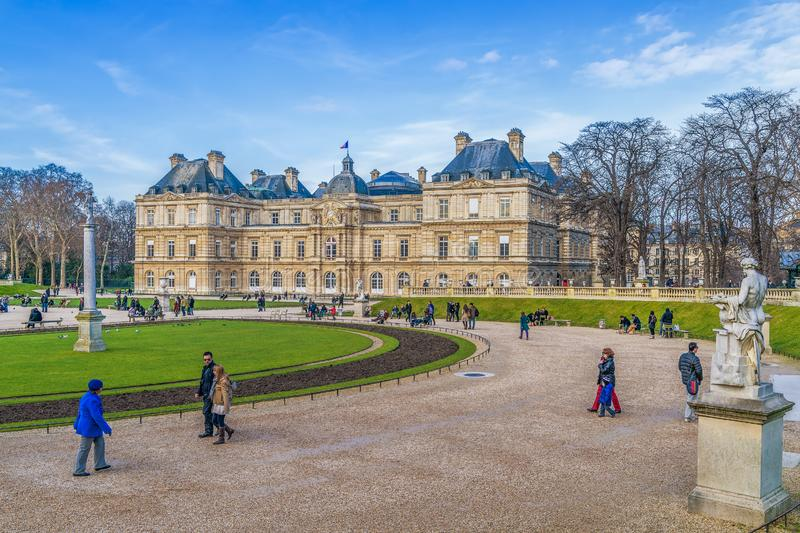 Historic Luxembourg Palace and Garden in winter.Paris.France stock photos