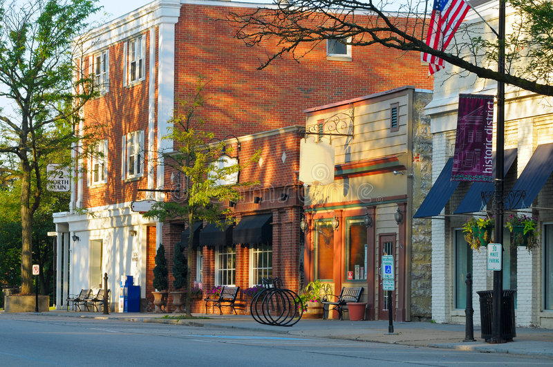 Historic Main Street. Businesses and shops on historic Main Street in Hudson, Ohio stock photography