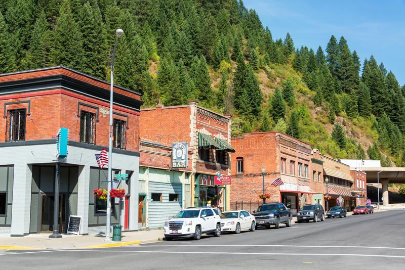Historic Main Street. WALLACE, ID - AUGUST 20: Historic main street of Wallace, ID on August 20, 2015 stock photos