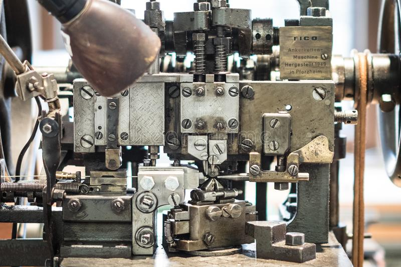 historic manufacturing machine - industrial mechanical handicraft production stock photos