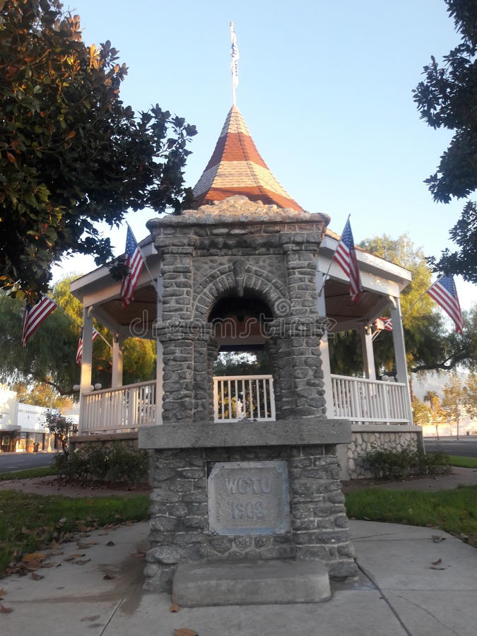 Historic marker in front of a Gazebo on Historic Route 83 stock photography