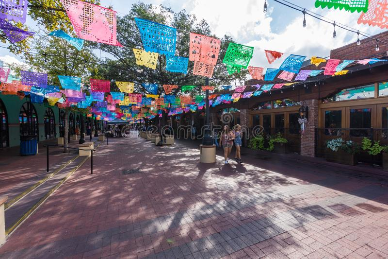 Historic Market Square Mexican Shopping Center tourist destination in San Antonio Texas stock photo