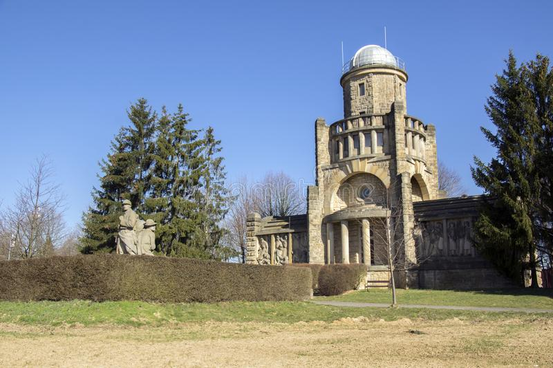 Historic Masaryk lookout tower of independence in Horice in Czech republic, sunny day. Blue sky stock photos