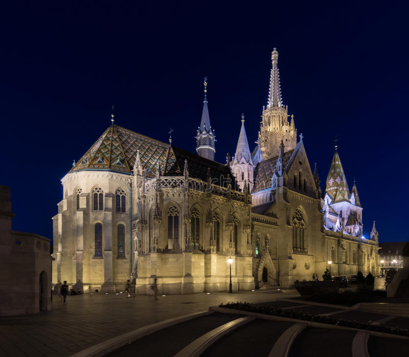 Historic Matthias Church in Budapest at Night stock images