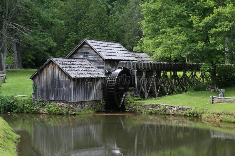 Mabry Mill Water Wheel Mill Blue Ridge Parkway stock photo