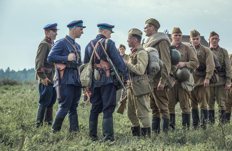 Historic military reenactment. Leningrad district, Volosovo - September 09, 2018 stock photography