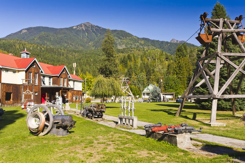 Historic mining equipment on display. At the mining museum in Silverton, BC, Canada royalty free stock photo