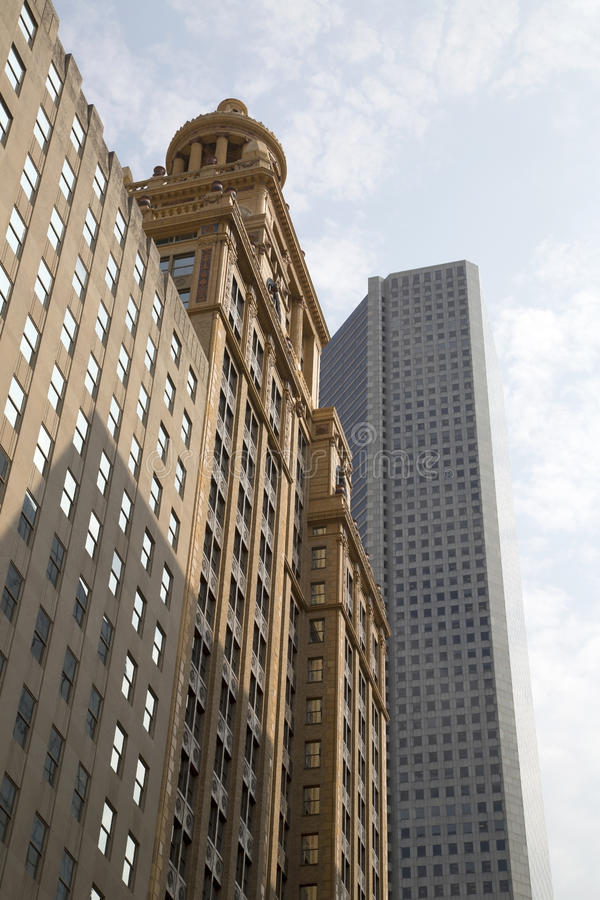 Historic and modern buildings in downtown Houston stock photography