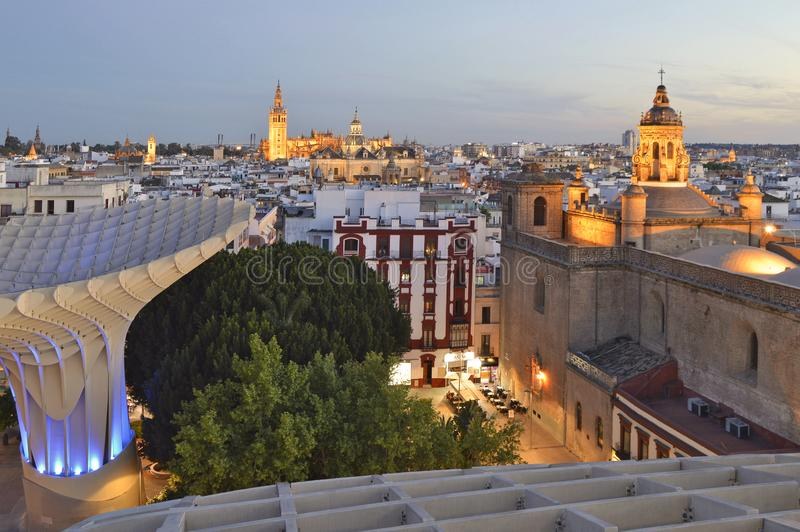Historic and modern Seville Spain stock image