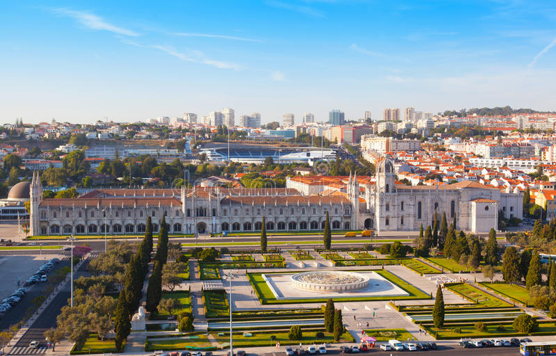 Historic monastery Mosteiro dos Jeronimos of Lisbon. In Portugal royalty free stock images