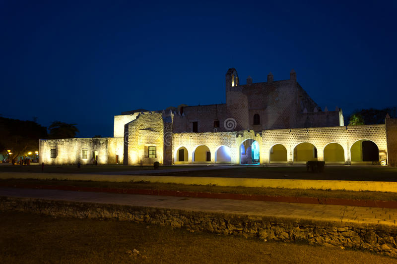 Historic Monastery at Night. Historic monastery in the historic center of Valladolid, Mexico as seen at night stock photography