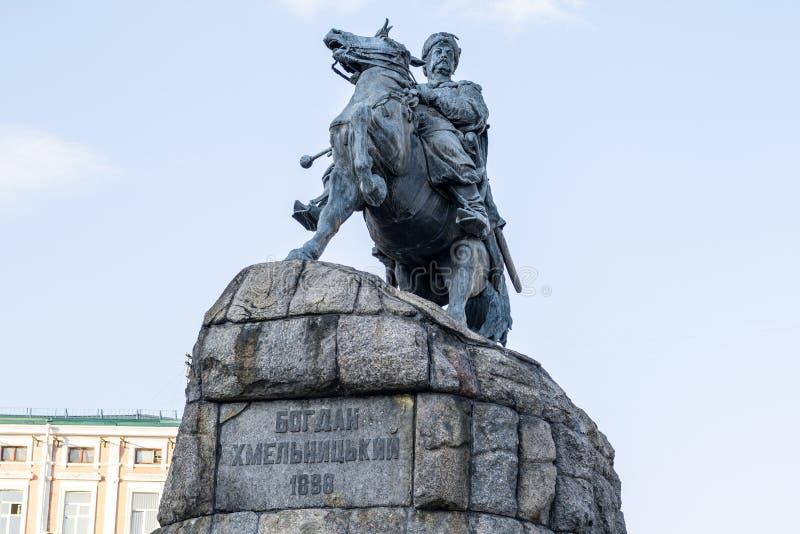 Historic monument of famous Ukrainian Hetman Bogdan Khmelnitsky on Sofia square royalty free stock photo