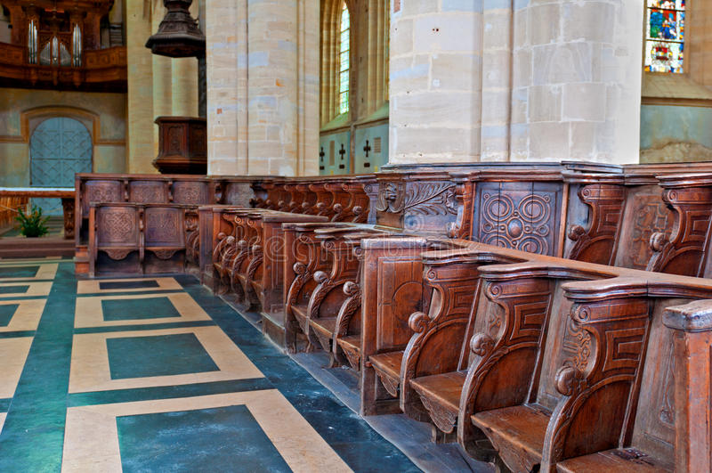 Historic And Monumental Church Bench Stock Photo