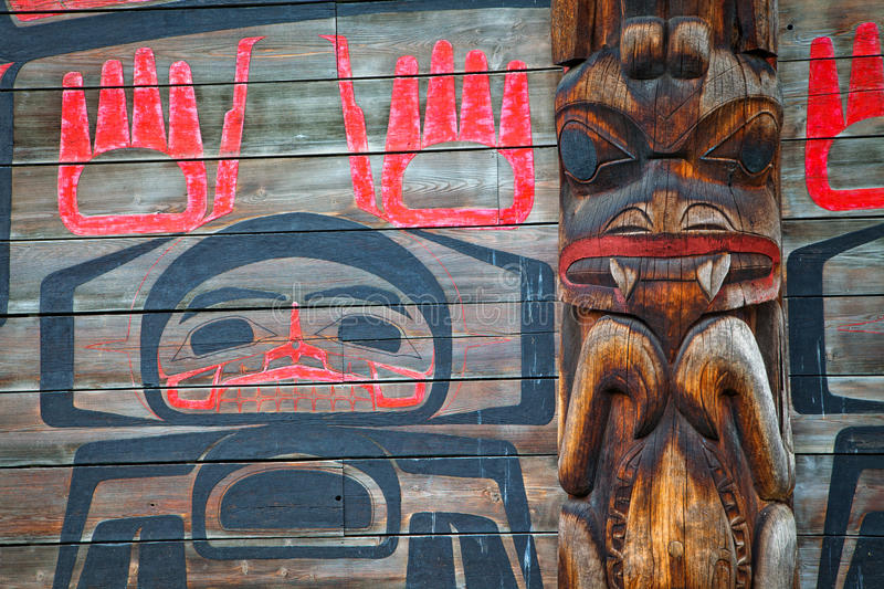 Historic native village of Ksan in northern British Columbia, Ca. A closeup detail view of a long house in the historic native village of Ksan in northern stock photo