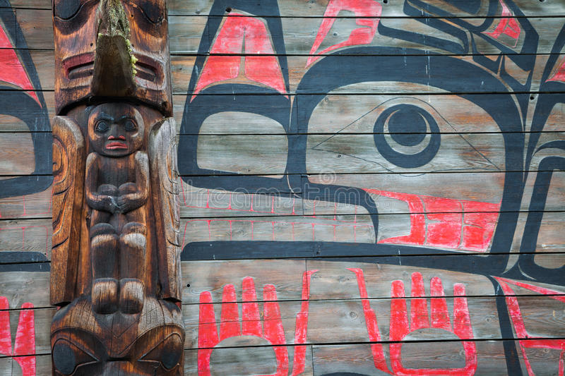 Historic native village of Ksan in northern British Columbia, Ca. A closeup detail view of a long house in the historic native village of Ksan in northern royalty free stock photography