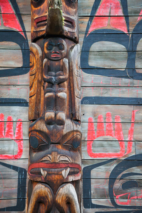 Historic native village of Ksan in northern British Columbia, Ca. A closeup detail view of a long house in the historic native village of Ksan in northern royalty free stock images