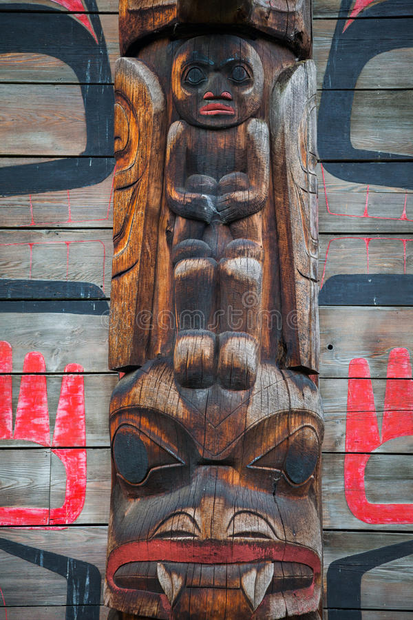 Historic native village of Ksan in northern British Columbia, Ca. A closeup detail view of a long house in the historic native village of Ksan in northern stock image