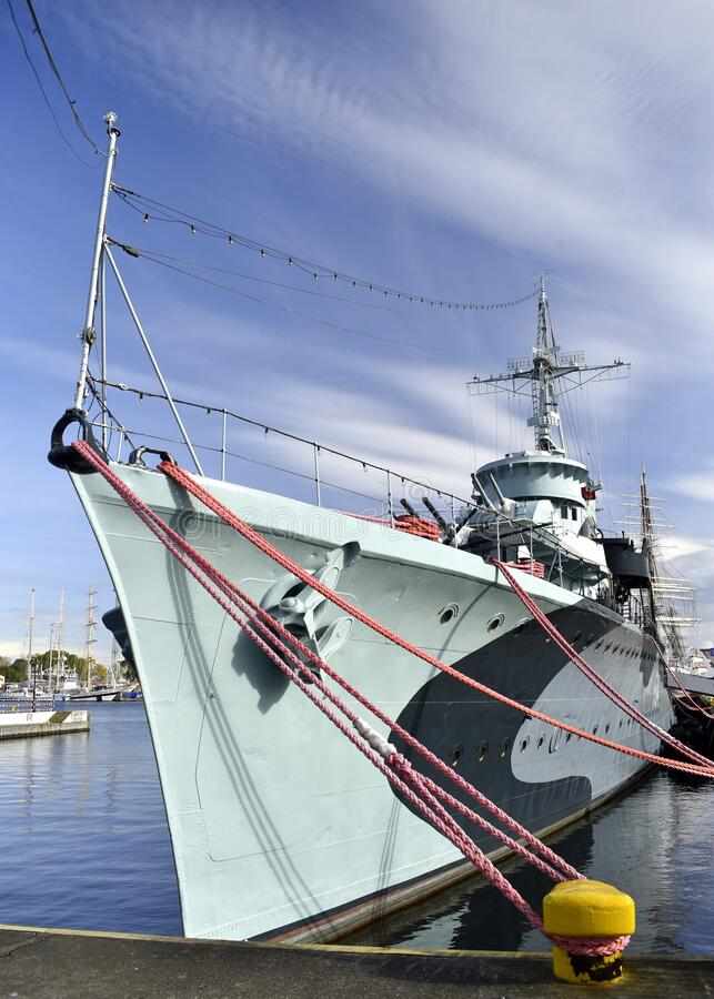 Free Historic Navy Ship Moored At Quey In Gdynia. Royalty Free Stock Images - 199922879