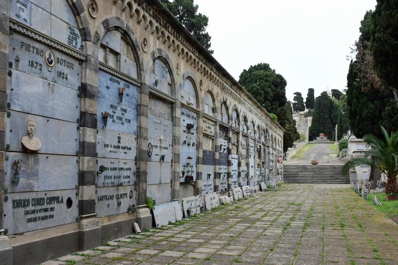 Necropolis di Viale Bonario, Cagliari, Sardinia, Italy royalty free stock photos