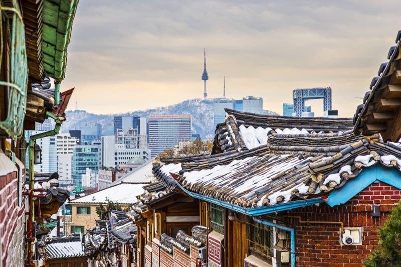 Historic Neighborhood of Seoul. Seoul, South Korea at the Bukchon Hanok historic district stock photo
