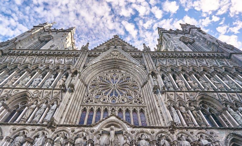 Historic Nidaros Cathedral in Trondheim, Norway stock photo