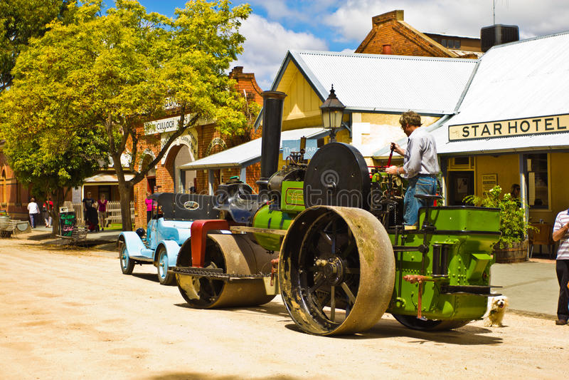 Historic Noyes Bros Steamroller In Echuca. Editorial Stock Photo