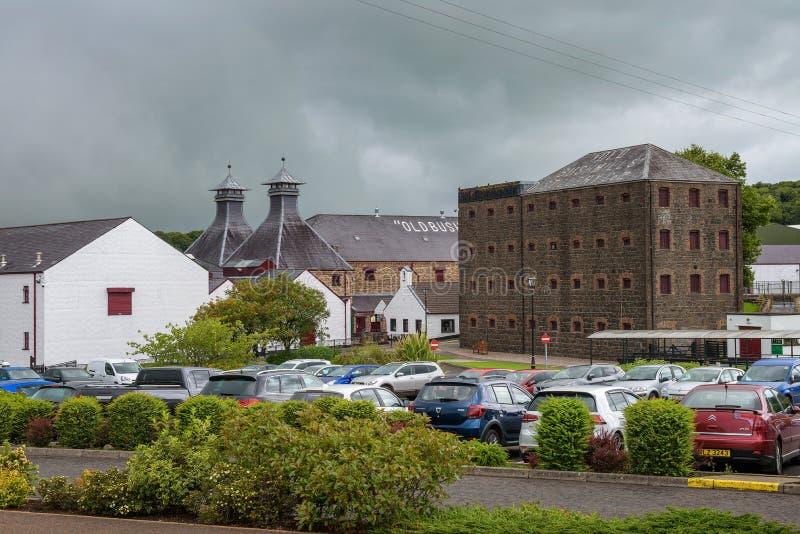 Historic Old Bushmills Distillery in Northern Ireland. Bushmills, Norther Ireland, United Kingdom - August 6, 2018 : Historic Old Bushmills Distillery known for stock photo
