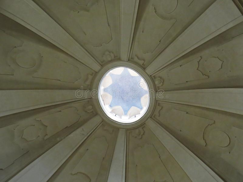 Historic Old Church Ceiling Roof Dome Interior Circle Window Light. A Historic Old Church Ceiling Roof Dome Interior Circle Window Light royalty free stock image