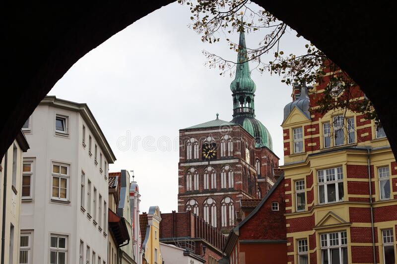 View through Kniepertor, historic old city of Stralsund, Germany stock photography