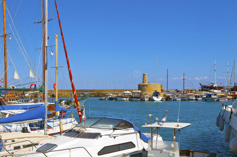 Historic old harbour in Kyrenia, Cyprus.