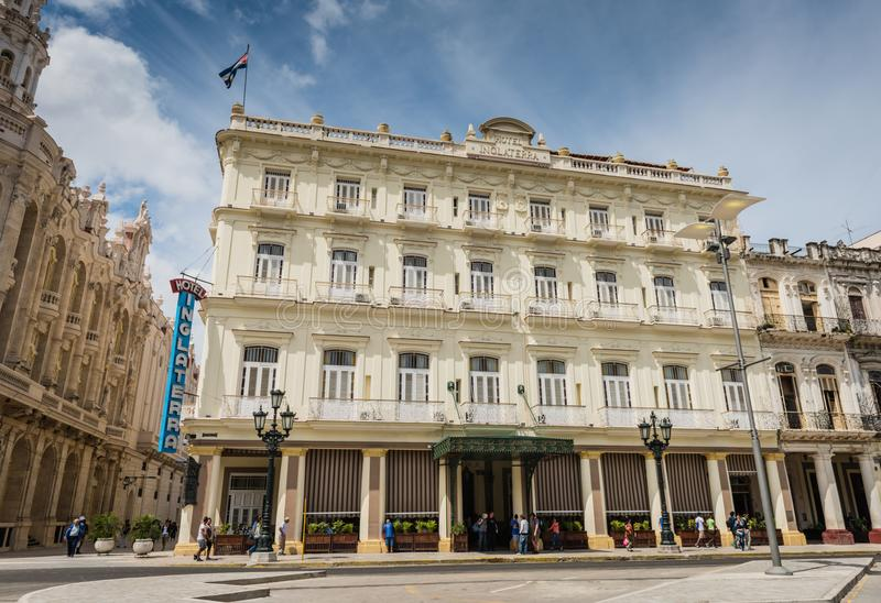 Hotel Inglaterra - Havana, Cuba. Historic Old Havana hotel with Colonial architecture dating from 1875, located opposite Parque Central near Gran Teatro de La royalty free stock image