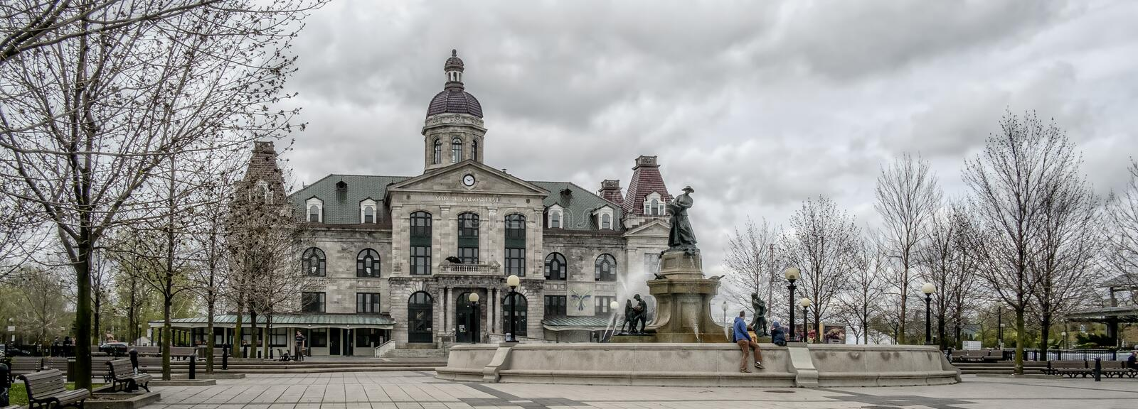 Historic Old Maisonneuve market. Mercier-Hochelaga-Maisonneuve is a borough of the city of Montreal, and has a population of 136,024 inhabitants in 2016 stock images