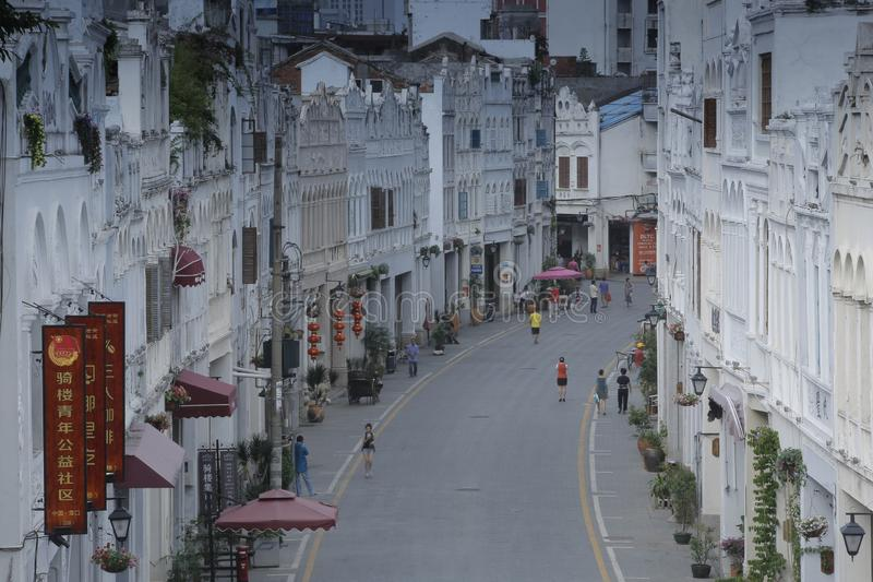 Historic Old Street in Hainan, China stock images