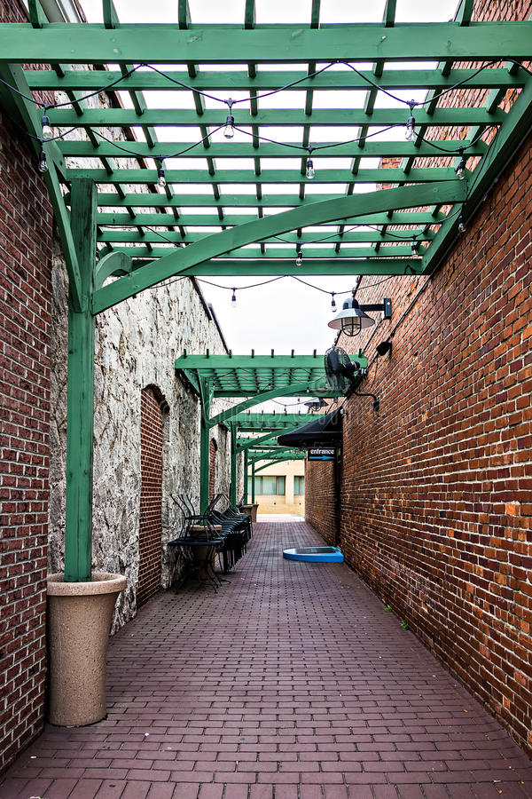 Historic old town alley entrance stock image