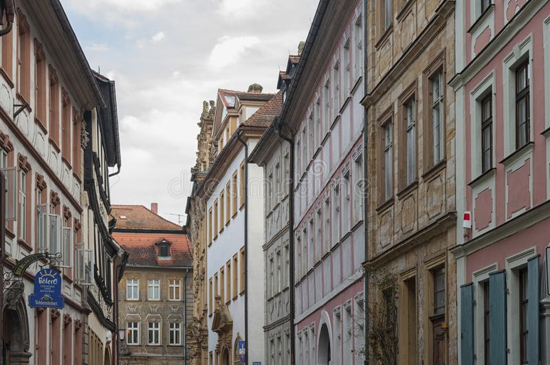 The historic old town of Bamberg with baroque architecture and iconic wood-framed houses - Germany royalty free stock photo