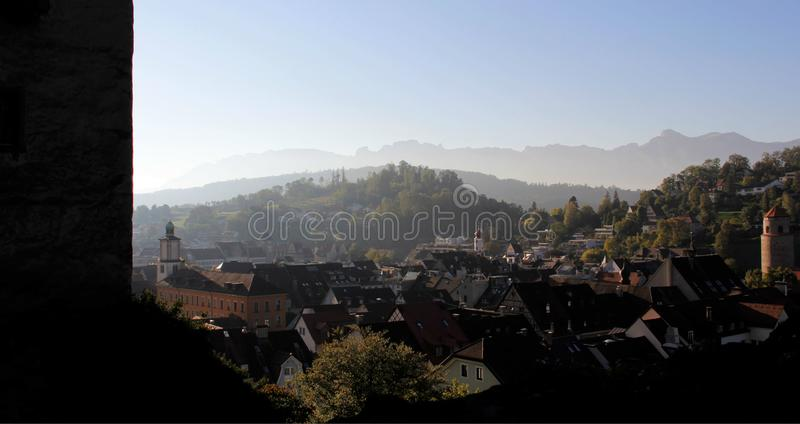 Feldkirch City View With Evening Light And Murky Sky. Historic old town with evening light during summer and autumn in Feldkirch in Austria royalty free stock images