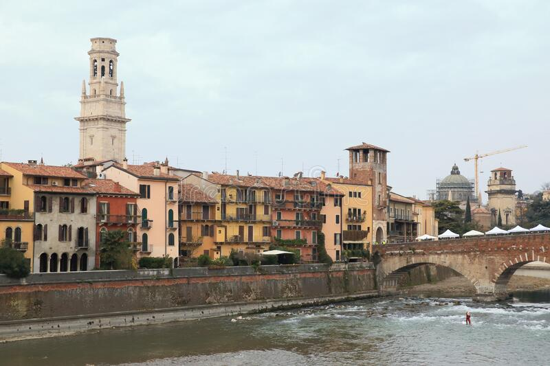 Historic old town of Verona stock images