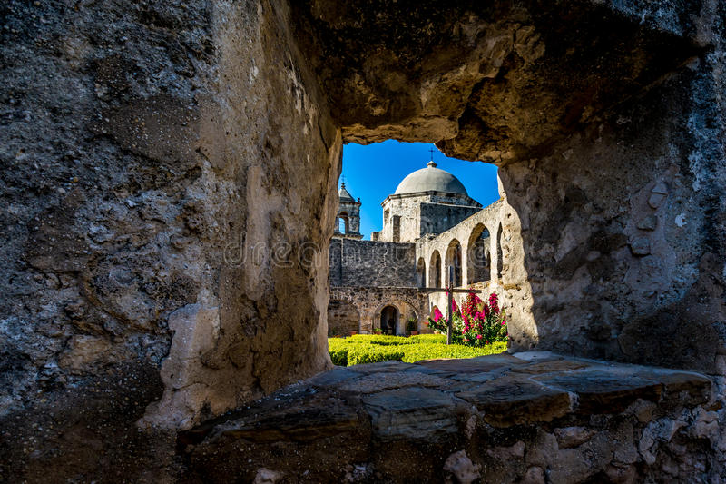 The Historic Old West Spanish Mission San Jose, Founded in 1720, San Antonio, Texas, USA. Showing dome, bell tower, and cross in stock image