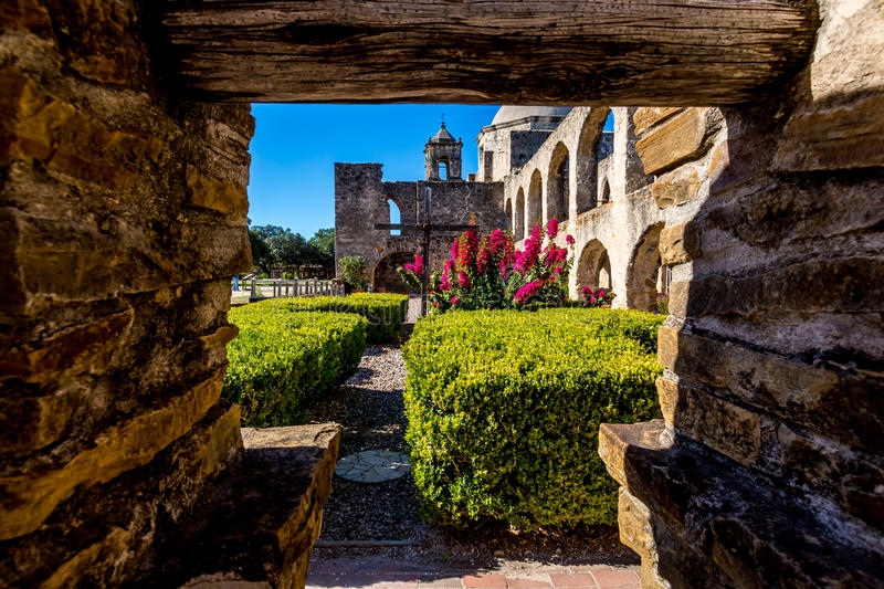 The Historic Old West Spanish Mission San Jose, Founded in 1720, National Park. stock images