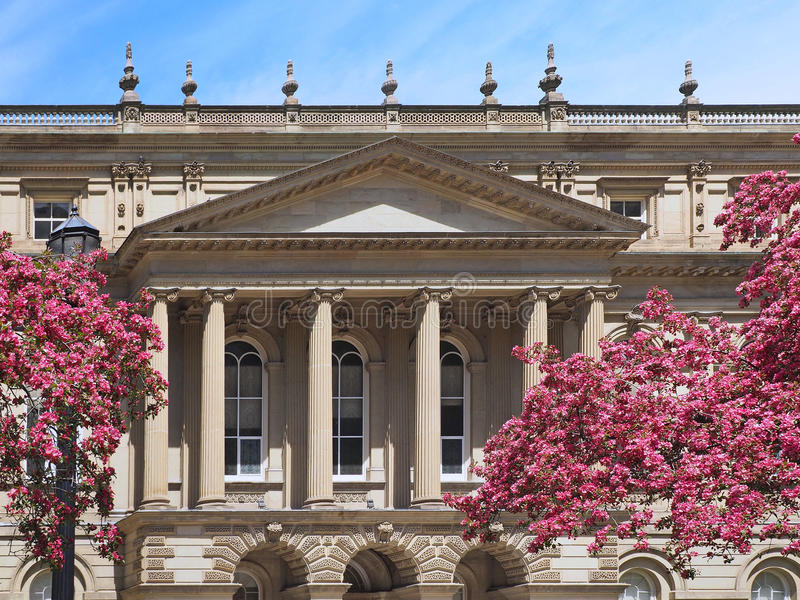 Historic Osgoode Hall Court House, Toronto. With spring blossoms royalty free stock photo