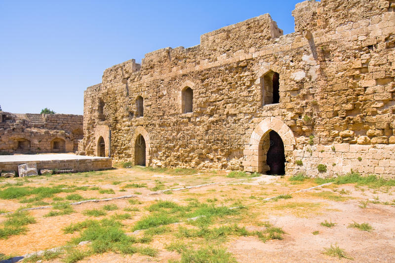 the historic Othello Castle in the harbour of Famagusta in Northern Cyprus stock photography