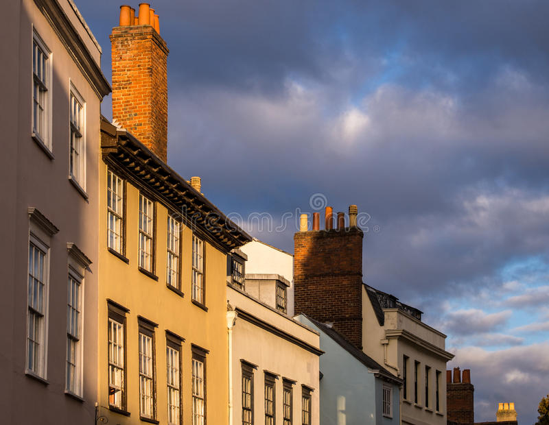Historic Oxford Houses in Evening Light. royalty free stock images