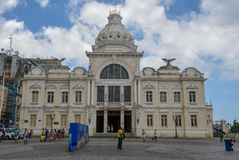 Historic palace of the Rio Branco at Salvador Bahia on Brazil. Salvador, Brazil - 5 february 2019: historic palace of the Rio Branco at Salvador Bahia on Brazil royalty free stock photography